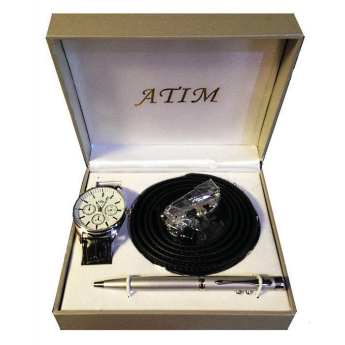 1 coffret montre ceinture stylo boite cadeau homme achat vente montre 1 coffret montre. Black Bedroom Furniture Sets. Home Design Ideas