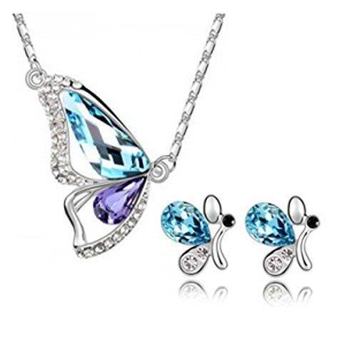 Femmes en or blanc 18 carats plaqué bleu et violet cristal autrichien papillon Set pendentif pourAZF0M