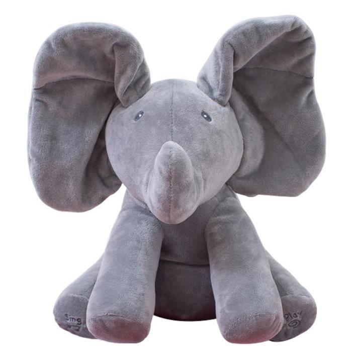 GRIS Éléphant en Peluche Chantant avec Oreilles Mouvant Jouet Éducatif Bébé Cadeau Pour Enfant Unisexe 30cm