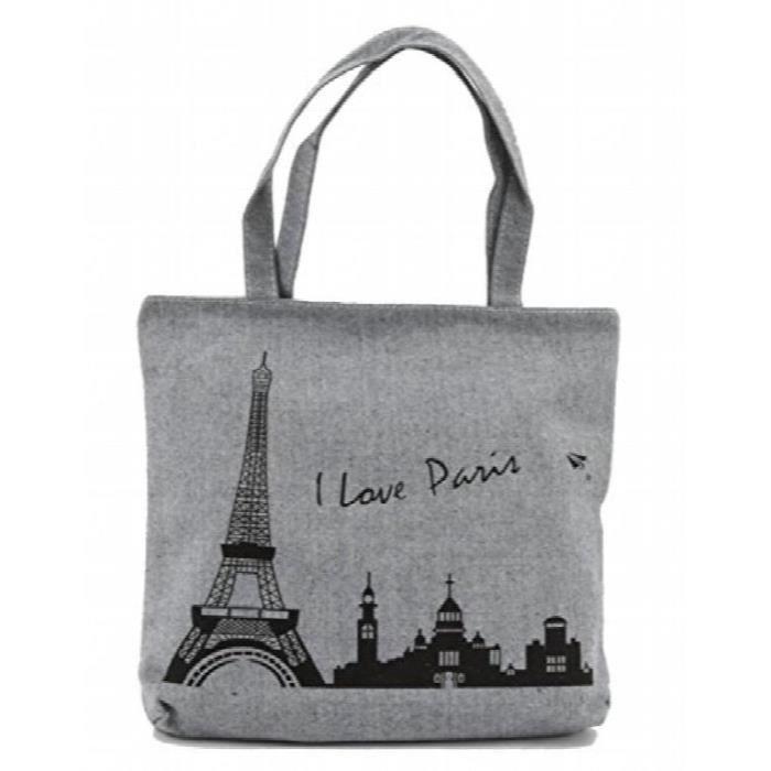 I Love Paris » Sac à bandoulière en toile fourre-tout K93JI