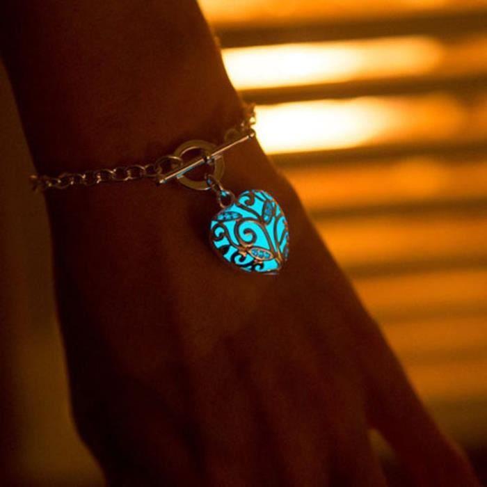 Br3592 Bracelet mixte  Europea Nuit lumière rougeoyante de coeur de pêche lumineux femmes Bangles Pulseras Femininas