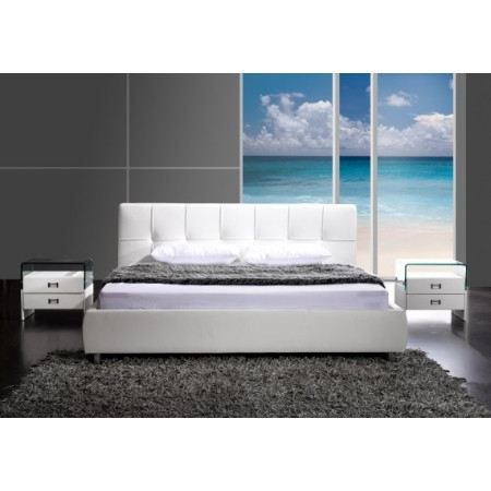 lit capitonn blanc dove 160x200 cm achat vente structure de lit lit capitonn dove 160x200. Black Bedroom Furniture Sets. Home Design Ideas