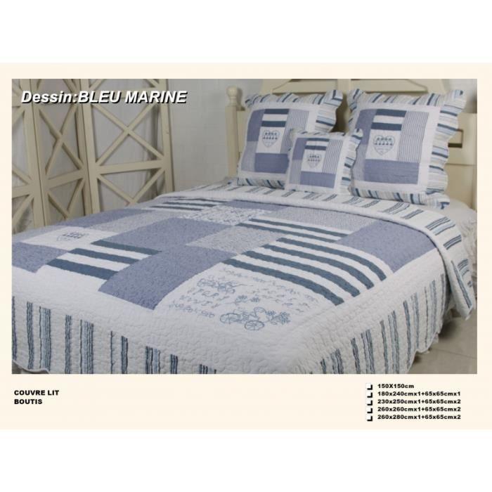 couvre lit boutis 2 places bleu marine achat vente jet e de lit boutis cdiscount. Black Bedroom Furniture Sets. Home Design Ideas