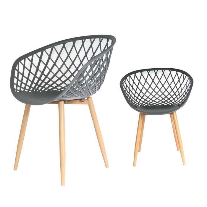 Chaise design copenhague gris lot de 4 gris achat for Lot de 4 chaises grises