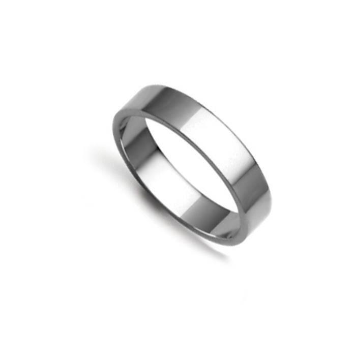 Jewelco Londres 18K à la main en or blanc 4mm anneau de mariage plat