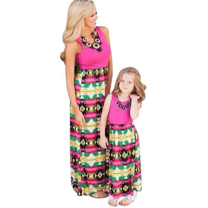 Mère Matching famille et fille parent-enfant Robe Fleur Shirt (Rose, maman, XL)