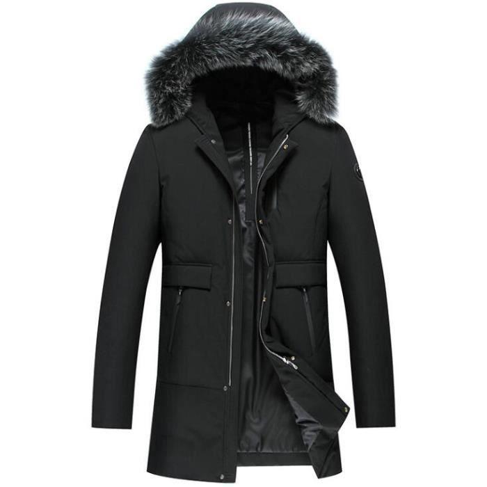 30f83d8a919f F.M.Q Doudoune longue homme hiver à capuche fourrure chaud Noir Noir ...