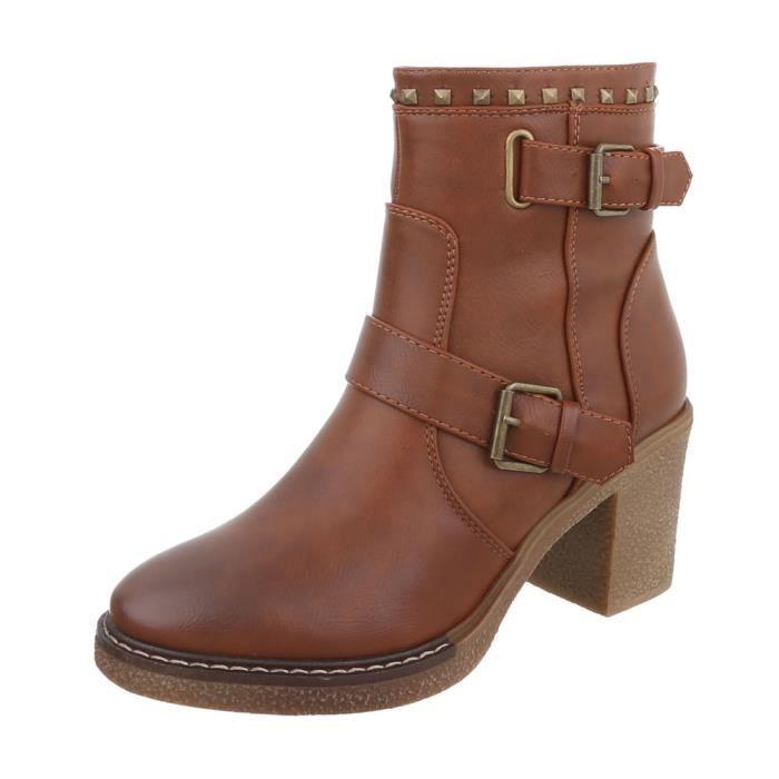 Bottines pour femme | Western Style Boots | Bottes à glissière | Ankle Boots rivet | Chaussures femme Bottines | Stylemeile | Camel