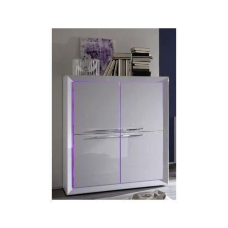 haut buffet design blanc laqu led 4 portes l achat vente buffet bahut haut buffet. Black Bedroom Furniture Sets. Home Design Ideas