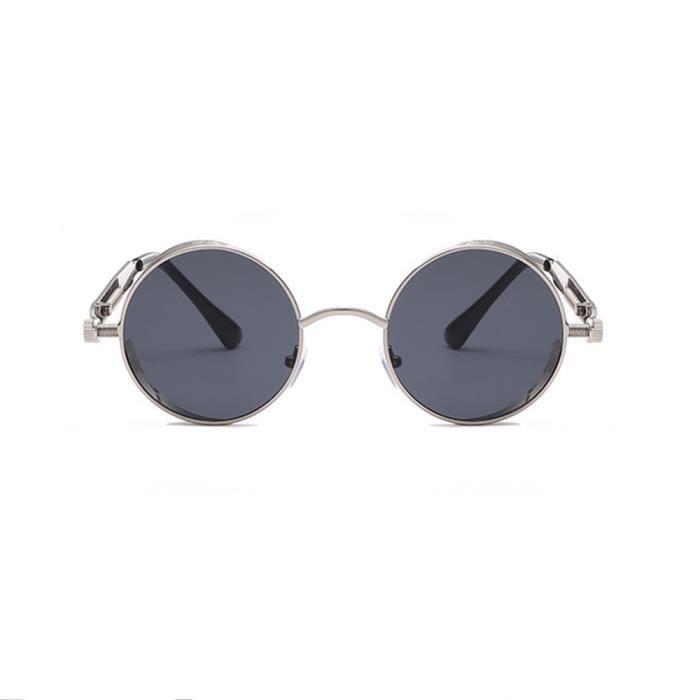 Lunettes de soleil ronde mixte homme et femme Retro sunglasses Métal café
