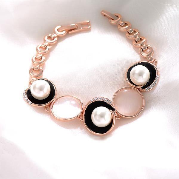 Glamorousky simple, plaqué rose bracelet cercle d'or avec des cristaux blancs d'éléments autrichiens (23780)