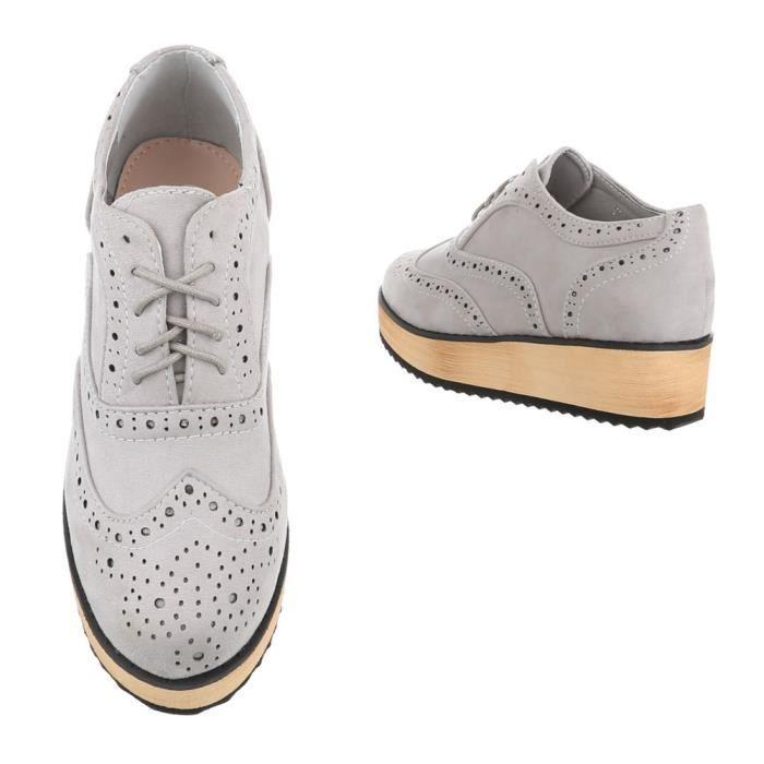 Chaussures femme flâneurs Plateau lacet Bottes gris 41
