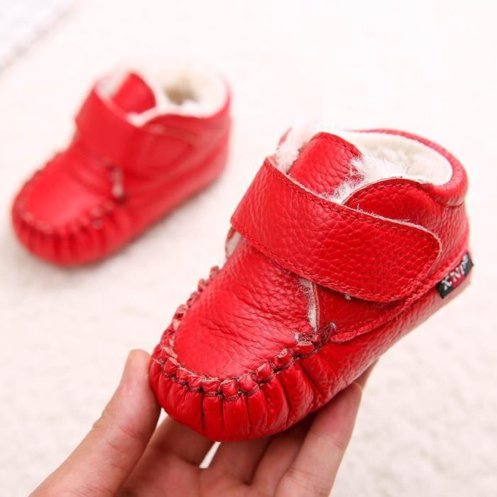 Bottes bébé PU Cuir De Neige Hiver Garçons Filles Casual Mode Enfants Chaussures BMMJ-XZ157Rouge20