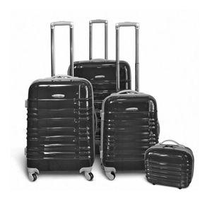 KINSTON Set de 3 Valises Trolley 4 roues 54/64/74 cm + Vanity Noir