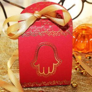 BOÎTE À DRAGÉES 3 Pcs boite dragées oriental rouge et or contenant