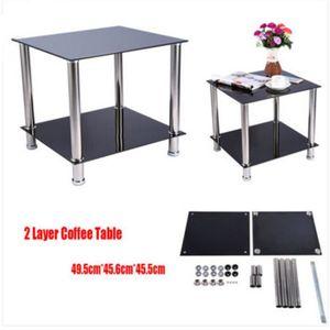 TABLE BASSE Table Basse Chrome Noir Verre en Acier Inoxydable