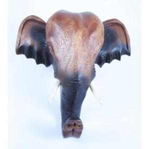 OBJET DÉCORATION MURALE Tête d'éléphant d'Asie sculpté en bois de Suar 20x