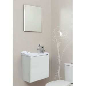 MEUBLE VASQUE - PLAN Meuble lave-mains à suspendre + miroir Vence Blanc
