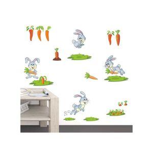 DÉCOLLEUSE PVC Sticker mural Autocollant Lapin et carotte Mul