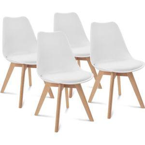 CHAISE Chaises X4 SARA blanches pour salle à manger desig