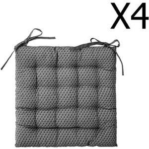 COUSSIN DE CHAISE  Lot de 4 Galettes de chaise gris à motifs - 38 x 3