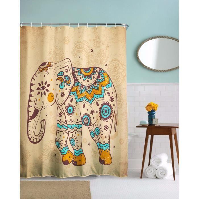 A.Monamour Mignon Indien Tribal Éléphant Tatouage Impression D\'Art Brun  Long Épaissir Rideau De Douche Pour Salle De Bain Décoration