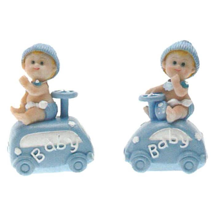 Décors de table 2 décors baptême bébé voiture bleue polyrésine - 5