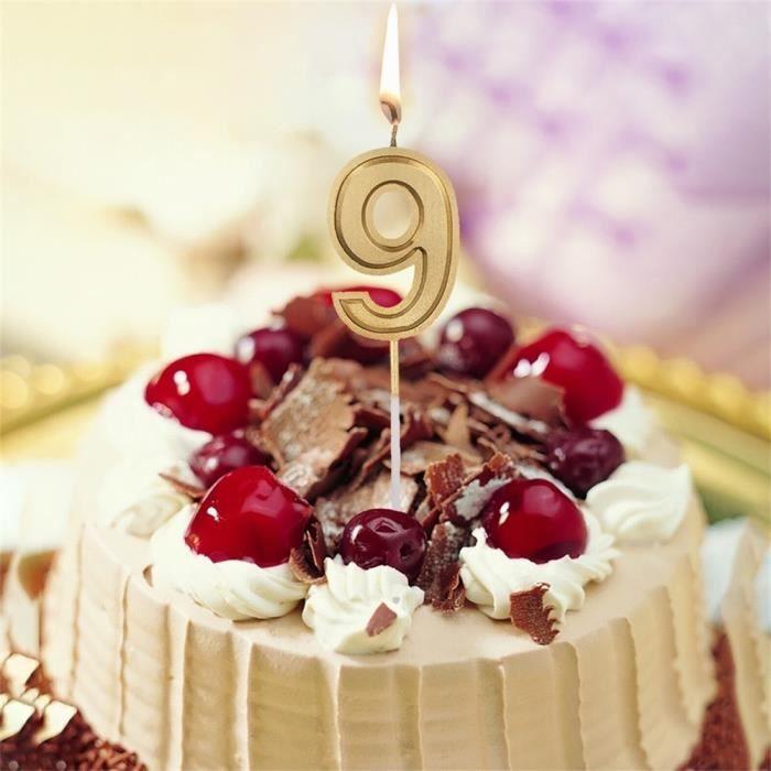 Or Numéro 9 Anniversaire Numéral Bougies Nombre Gâteau Décor Pour