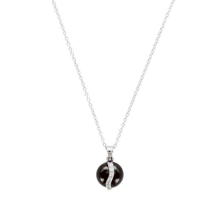Jouailla - Collier argent925/1000e rond céramique avec une ondulation en oxyde de zirconium noire