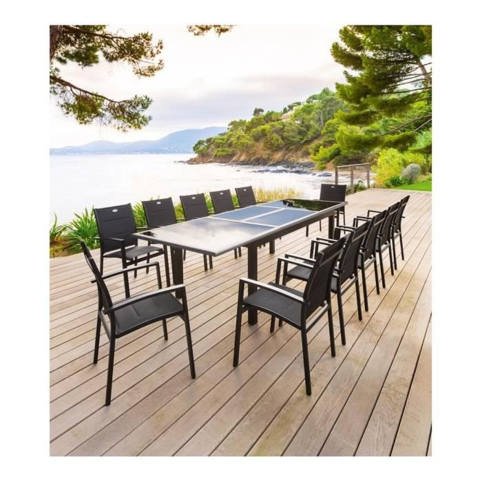 TABLE 200/300CM AZUA NOIR - Achat / Vente table de jardin TABLE 200 ...