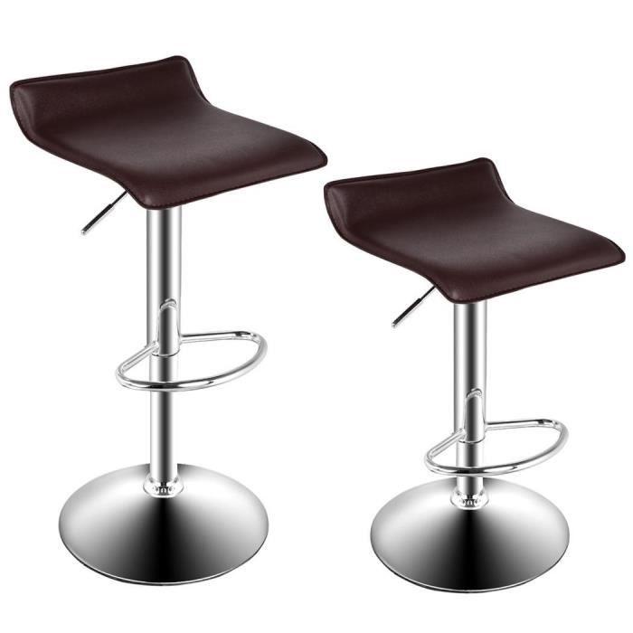 Tabouret Salon Chaise Bar Réglable Moderne Chrome Brun Pivotante n0mNOyv8w