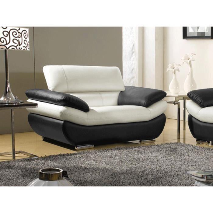 Fauteuil en cuir blanc et noir ROSY Achat Vente fauteuil Blanc