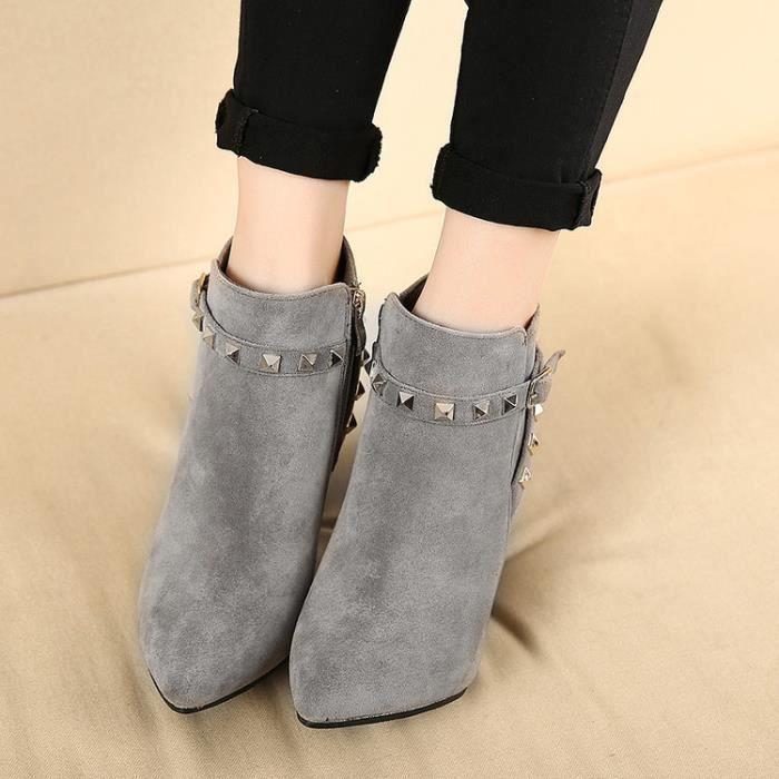 martin boots-Pure Color High Heel Heel mince de...