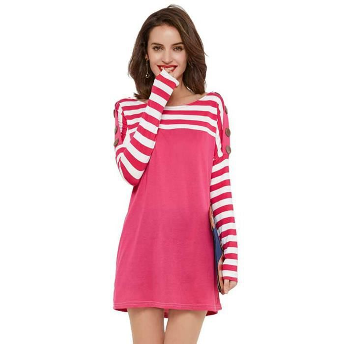 Robe Femme Manches Longues Mini Rayé Casaul Patchwork Bouton Rose Lâche Nouvelle Mode HEE GRAND