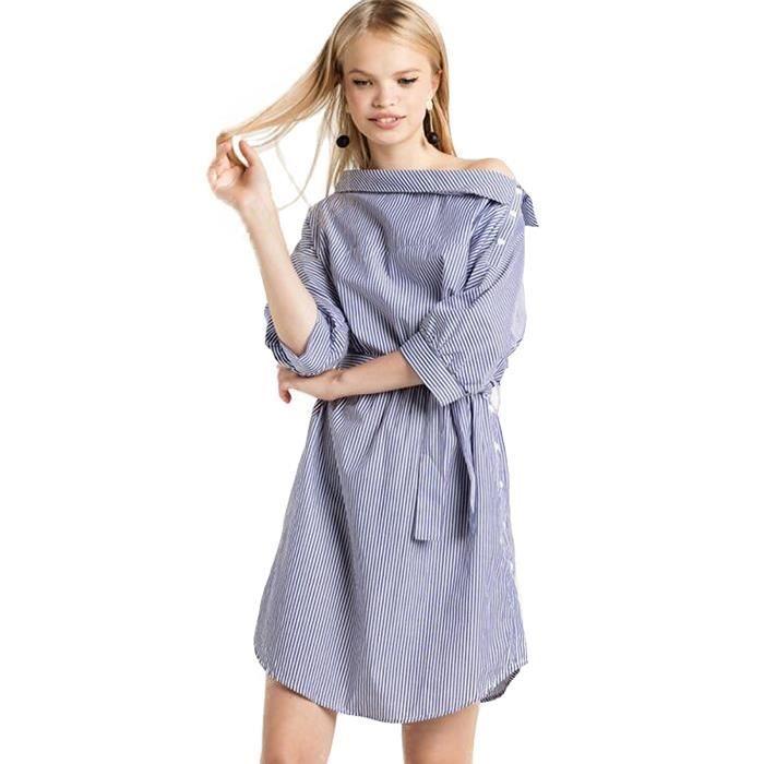 Pull Femme Chemise Grand Col Rond L épaule De Rosée Rayures Bleues Et  Blanches Manche Longue dc1bcda7ede1