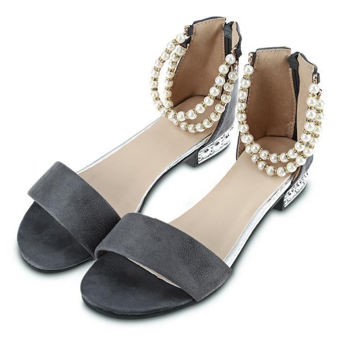 Pure Color style perle chaîne sangle dames Sandales plates