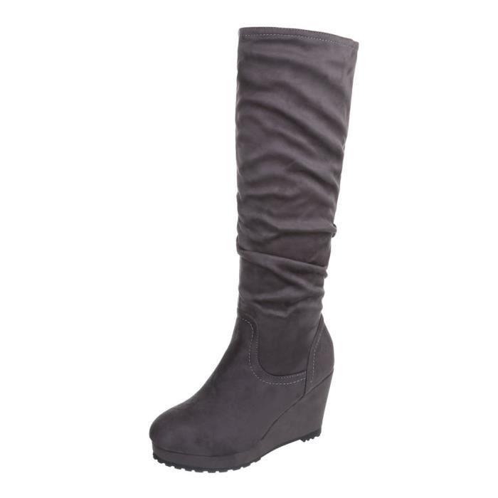 femme botte chaussure semelle compensée Wedges botte Plateau gris 5QfXsv6
