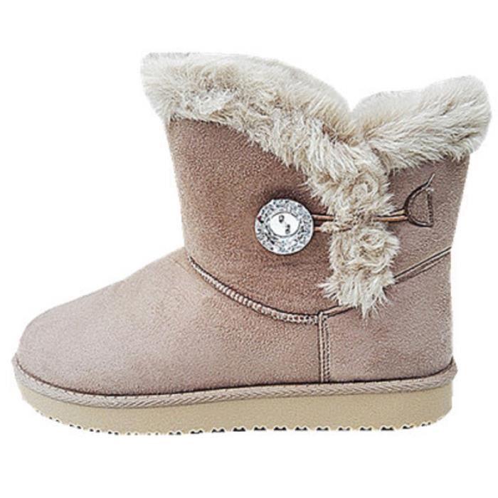 Fashionfolie888 - Femme Bottine Chaussure fourrées fur Plat Talon Fille Botte Boots JR911 TAUPE