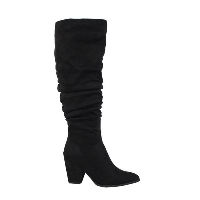 Poppy-06 Elegant Modern Slouch Suede Western Knee High Fashion Ladies Winter Cone Heeled Boots E2CYI Taille-41