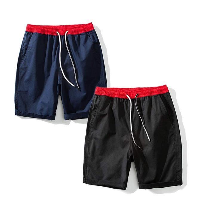 Hommes Shorts De Coton 2 pièces Occasionnels Shorts-taille élastique  Classic Fit Pantalons De Plage Courts et d été c97cf0036164
