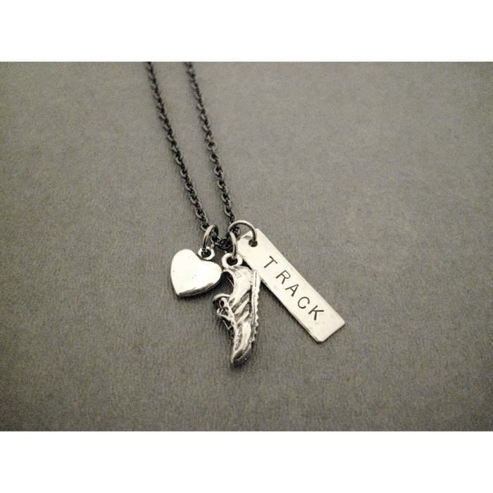 Womens Love To Run Track Necklace On 18 Inch Gunmetal Chain - Heart, Running Shoe Charm And Hand H NMZN1