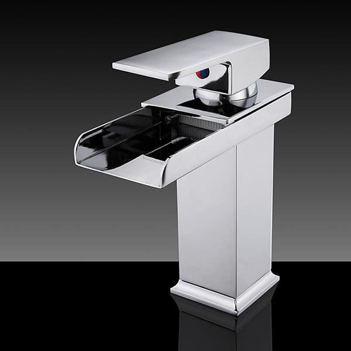 tempsa robinet de lavabo levier cascade en laiton chromé pour salle