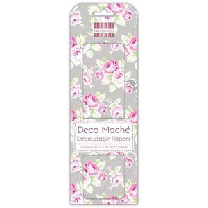 DECO MACHE 3 feuilles de papier découpage Summer Silver Roses