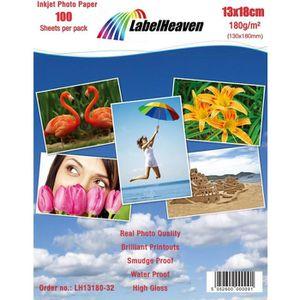 PAPIER PHOTO LabelHeaven - 100 Feuilles Papier Photo 13x18 cm (