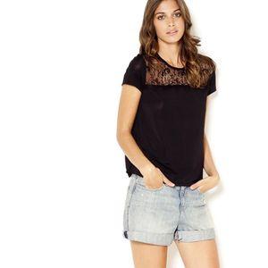 T-SHIRT Camaieu - T-shirt femme bi-matière dentelle TULADY