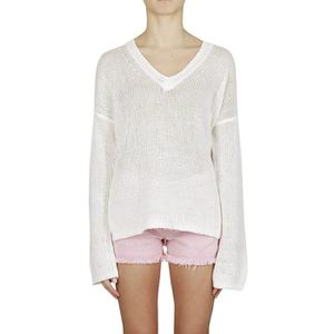 PULL 360SWEATER FEMME 35610RICE BLANC COTON PULLOVER