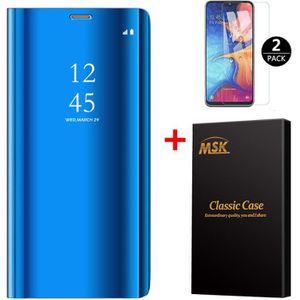 HOUSSE - ÉTUI Coque Samsung A20E + [2 Pack] Verre trempé, Miroir