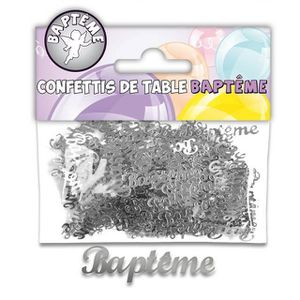 Décors de table Confettis de table baptême argent (x10grs) REF/CTB