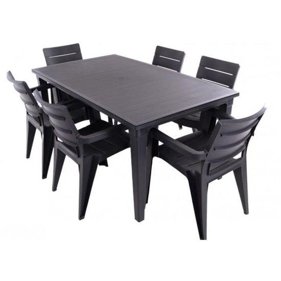 JUSThome Salon de jardin Ibiza Ensemble 6 Chaises + Table Noir ...