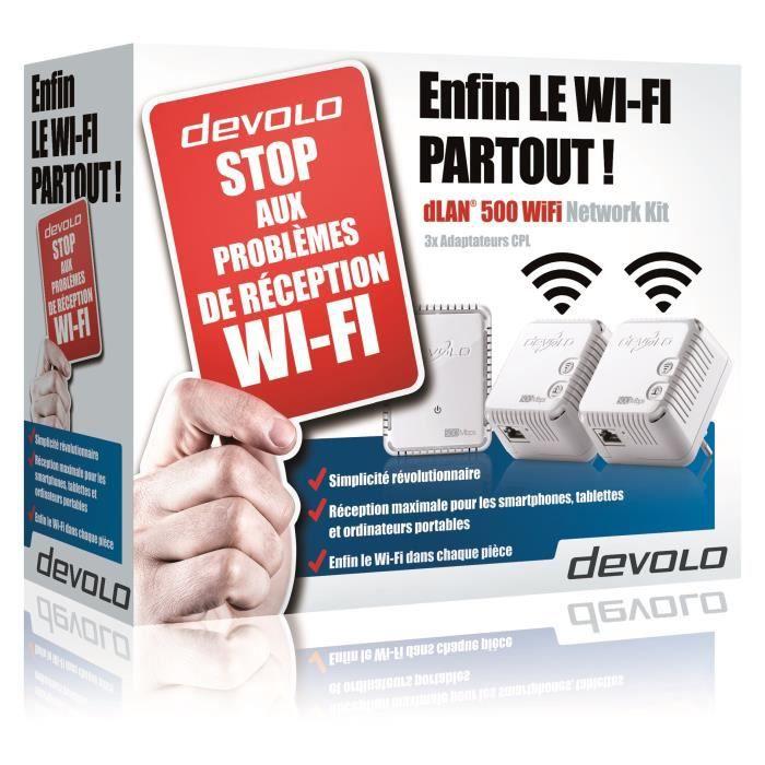 DEVOLO Prise réseau CPL Wi-Fi 500 Mbit/s, 2 ports Fast Ethernet, Kit Réseau (x3) Modèle 9091 dLAN 500 WiFi,